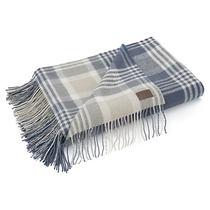 Alternate image 1 for UGG® Charger Plaid Wool Throw Blanket in Ocean