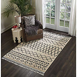 Nourison Moroccan Shag Machine Woven Rug in Cream