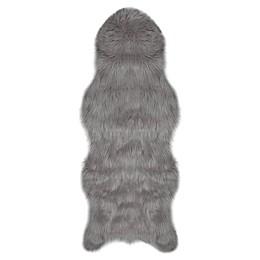 """Jean Pierre Faux Fur 1'10"""" x 5' Runner in Dark Grey"""