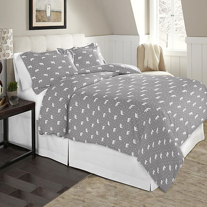 buy pointehaven polar bear twin twin xl flannel duvet cover set in white multi from bed bath. Black Bedroom Furniture Sets. Home Design Ideas