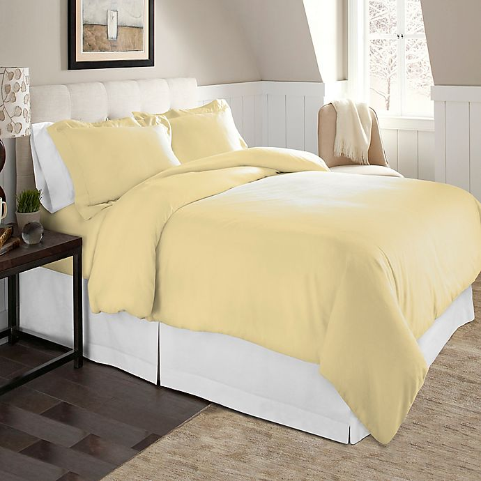 Alternate image 1 for Pointehaven Solid 2-Piece Twin/Twin XL Flannel Duvet Cover Set in Off White
