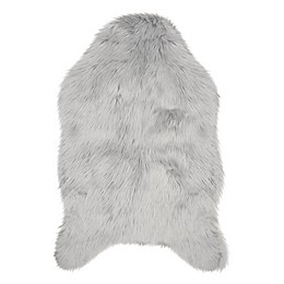 Jean Pierre Faux Fur 2' x 3' Accent Rug in Light Grey
