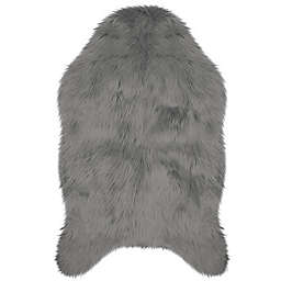 Jean Pierre Faux Fur 2' x 3' Accent Rug in Dark Grey