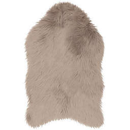 Jean Pierre Faux Fur 2' x 3' Accent Rug in Taupe/Grey