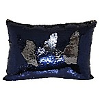 Mermaid Sequin Throw Pillow in Navy/Pewter