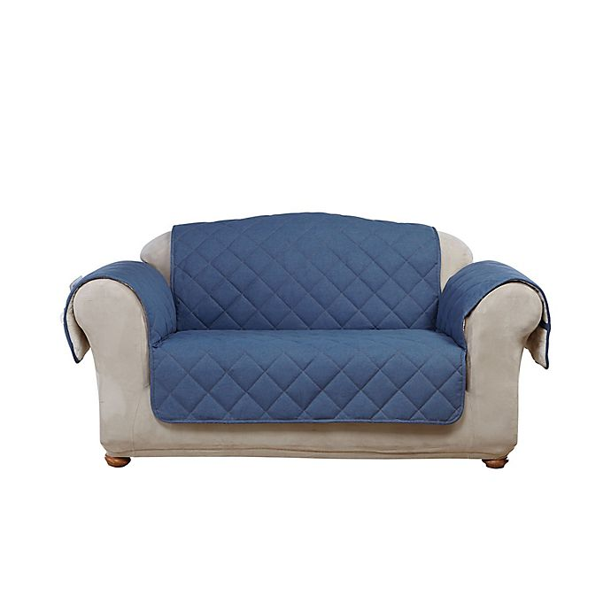 Alternate image 1 for Sure Fit® Reversible Denim and Sherpa Loveseat Cover