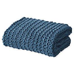 Oscar/Oliver Luca Chunky Knit Throw Blanket in Blue