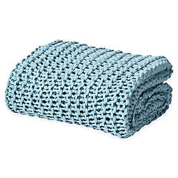 Oscar/Oliver Luca Chunky Knit Throw Blanket in Aqua