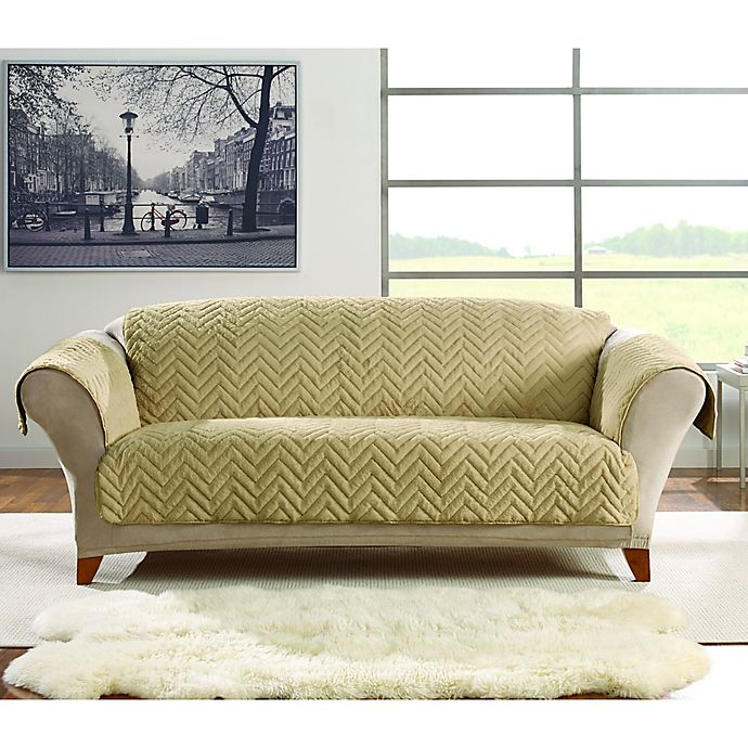 Alternate image 1 for Sure Fit® Faux Fur Sofa Protector in Blonde