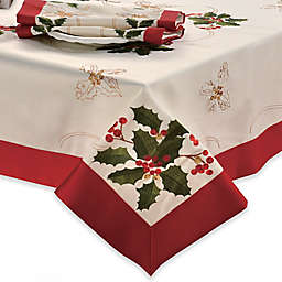 Holly Berries Embroidered Tablecloth