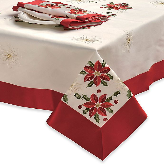 Alternate image 1 for Creative Home Ideas Poinsettia Embroidered 70-Inch x 86-Inch Oblong Tablecloth