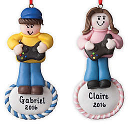 Gamer Girl Christmas Ornament in Pink