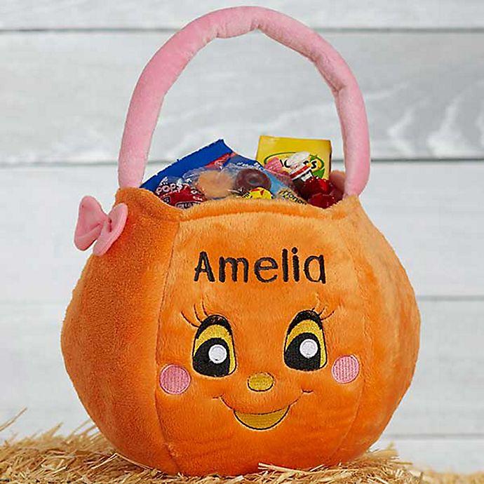 Alternate image 1 for Girl Pumpkin Plush Trick or Treat Bag