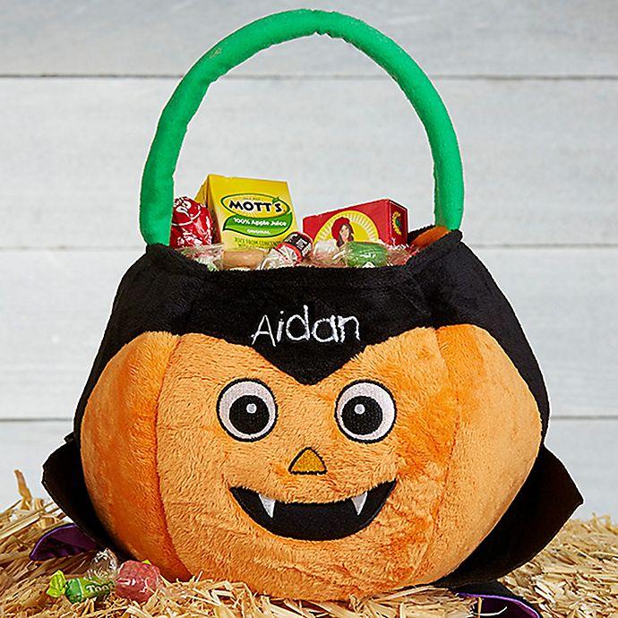 Alternate image 1 for Dracula Pumpkin Plush Treat Bag