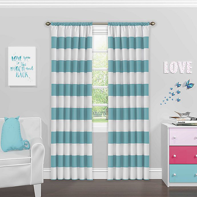 Alternate image 1 for SolarShield® Bartlett 84-Inch Rod Pocket Room Darkening Window Curtain Panel in Teal