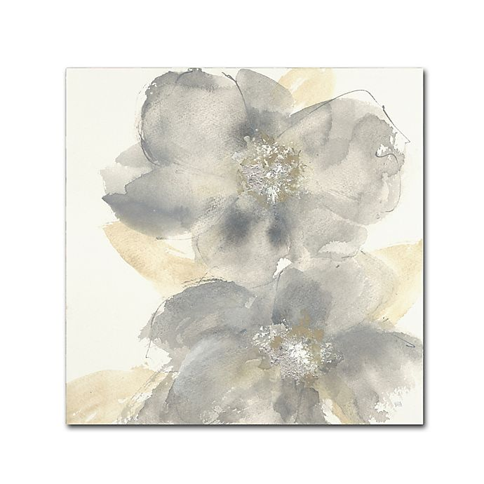 Alternate image 1 for Chris Paschke 'Floral Grey II' 35-Inch Square Canvas Wall Art