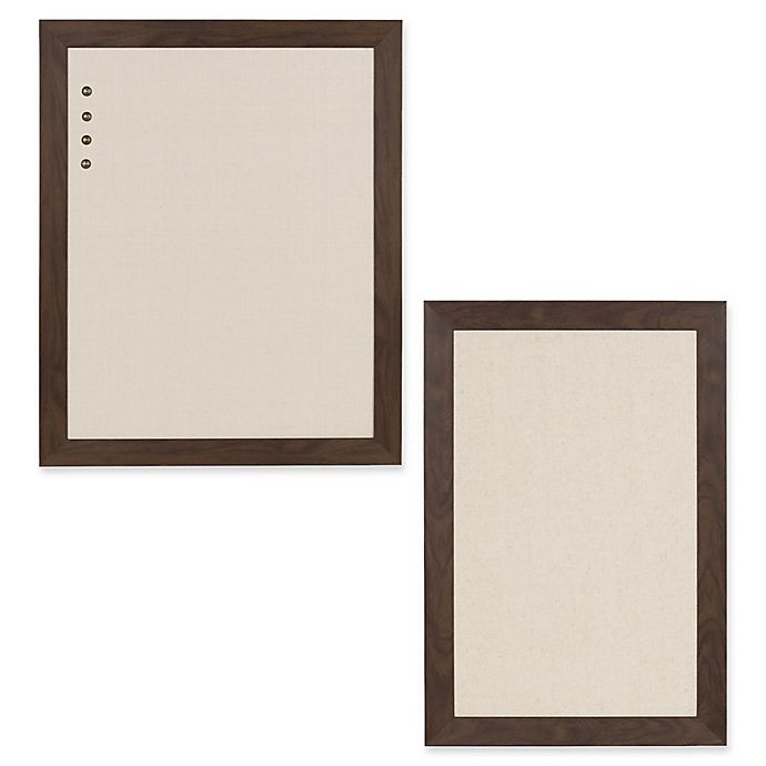 Alternate image 1 for Kate and Laurel Bosc Framed Fabric Pinboard in Walnut