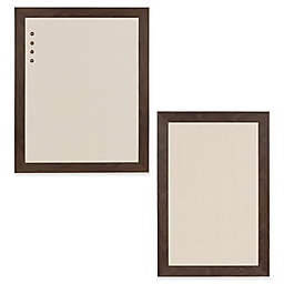 Kate and Laurel Bosc Framed Fabric Pinboard in Walnut