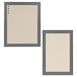 Kate and Laurel Bosc Framed Fabric Pinboard in Grey