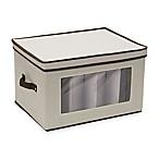 Household Essentials® Goblet Stemware Storage Box in Cream/Brown