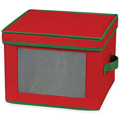 Household Essentials® Holiday China Dinner Plate Storage Box in Red/Green