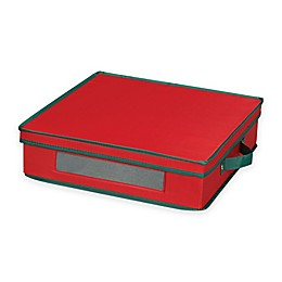 Household Essentials® Holiday Charger Plate China Storage Box in Red/Green