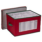 Household Essentials® Holiday Goblet Wine Glass Storage Box in Red/Green