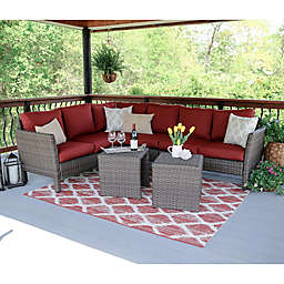 Leisure Made Canton 6-Piece Sectional Patio Furniture Set in Red