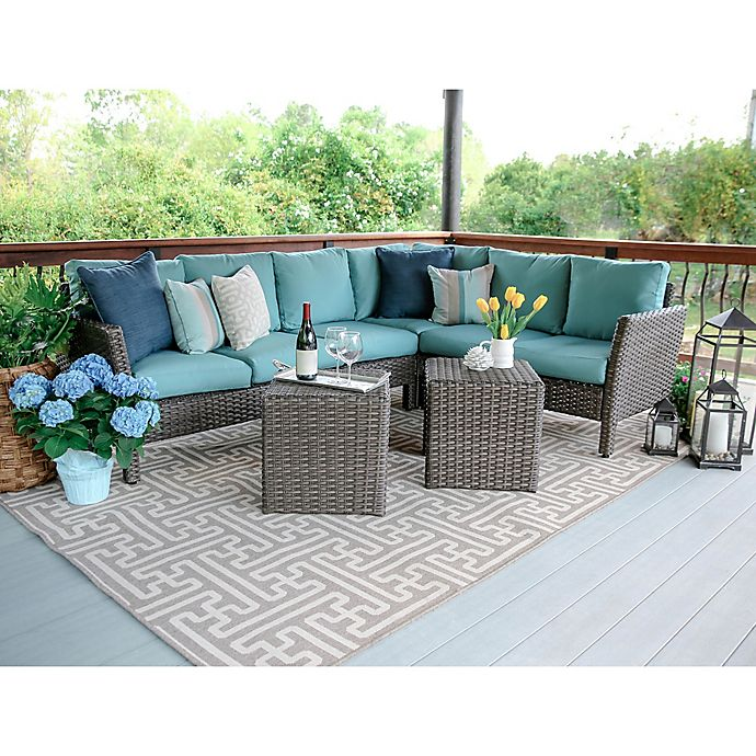 Alternate image 1 for Leisure Made Canton 6-Piece Sectional Patio Furniture Set in Blue