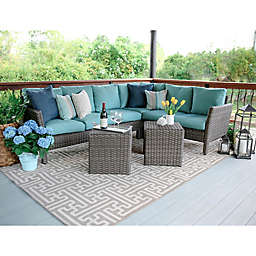 Leisure Made Canton 6-Piece Sectional Patio Furniture Set in Blue