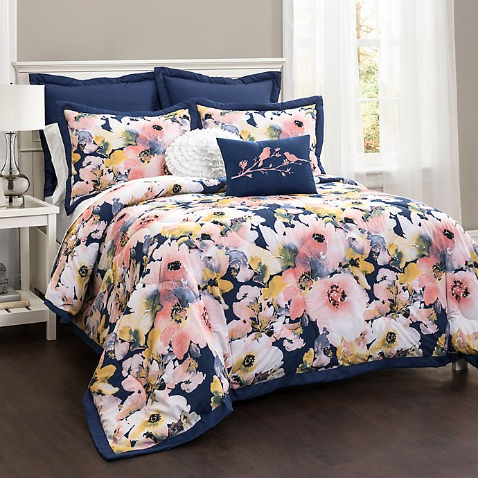 Alternate image 1 for Lush Décor Watercolor Floral 7-Piece Full/Queen Comforter Set in Blue