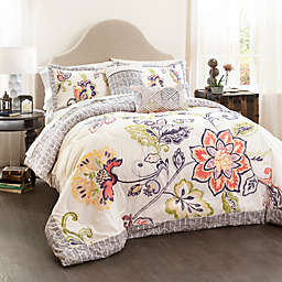 Lush Décor Aster 5-Piece Reversible Full/Queen Comforter Set in Coral