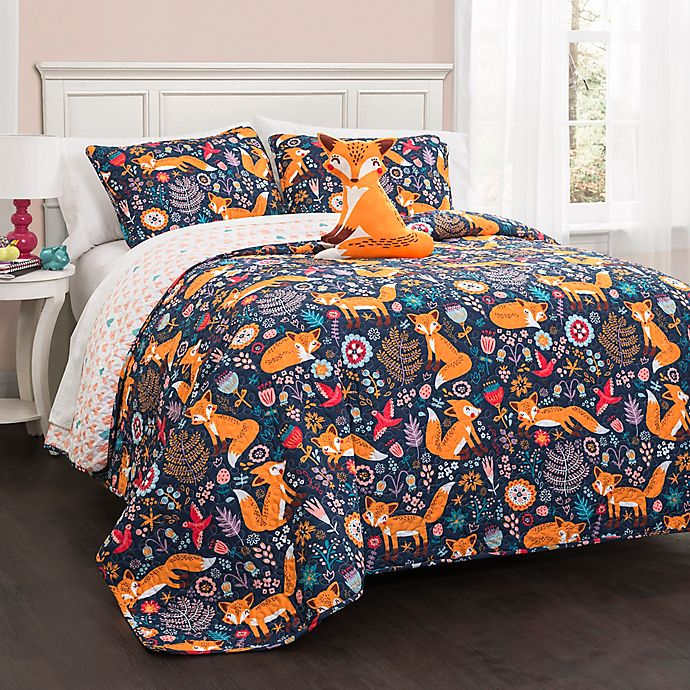 Alternate image 1 for Lush Décor Pixie Fox 4-Piece Reversible Full/Queen Quilt Set in Navy