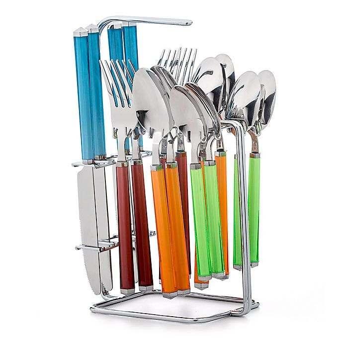 Alternate image 1 for Cambridge® Riant Multicolor 16-Piece Flatware Set with Rack