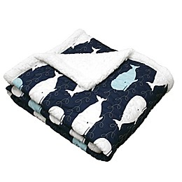 Lush Décor Whale Sherpa Throw Blanket in Navy