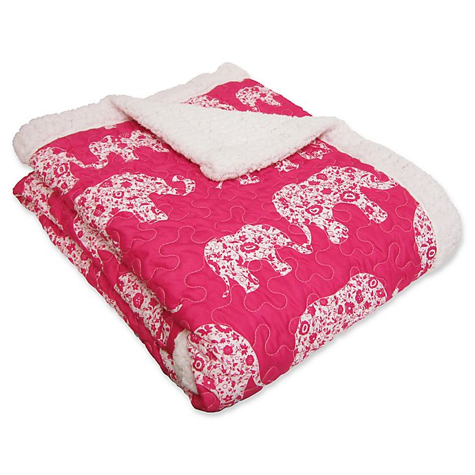 Alternate image 1 for Lush Décor Elephant Parade Sherpa Throw Blanket in Pink