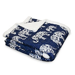 Lush Décor Elephant Parade Sherpa Throw Blanket