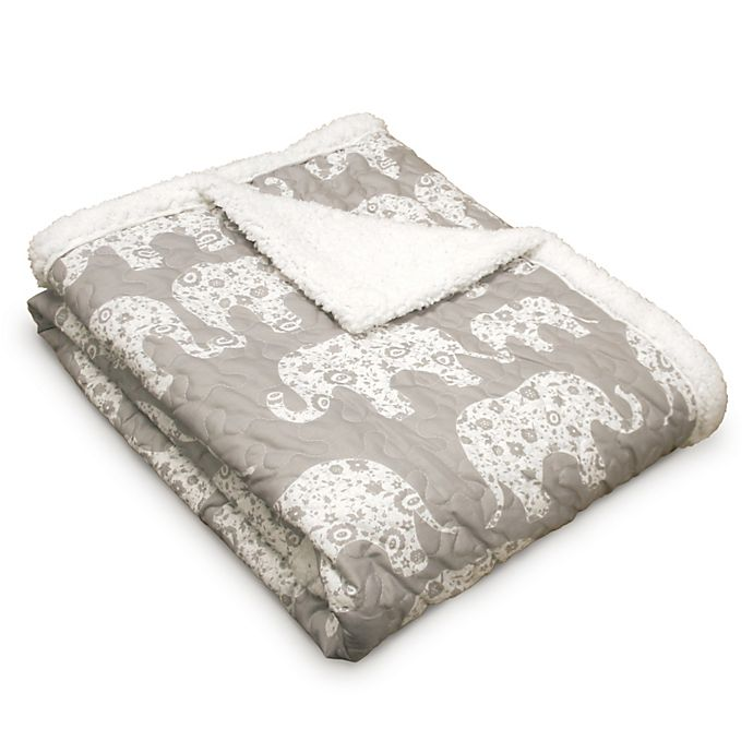 Alternate image 1 for Lush Décor Elephant Parade Sherpa Throw Blanket in Grey