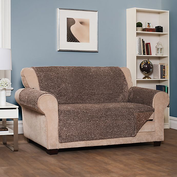 Alternate image 1 for Reversible Shaggy Wing Sofa Cover in Chocolate