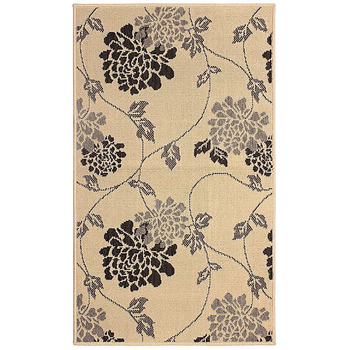Alternate image 1 for Laura Ashley Jaya Chrysanthemum Indoor/Outdoor 2-Foot 3-Inch x 3-Foot 9-Inch Accent Rug in Beige