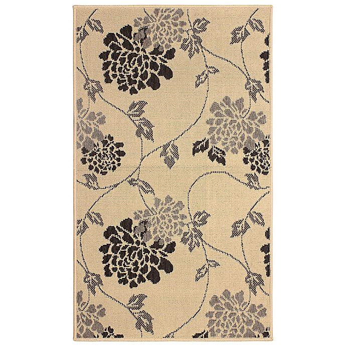 Alternate image 1 for Laura Ashley® Jaya Chrysanthemum Indoor/Outdoor 4-Foot x 6-Foot Area Rug in Beige