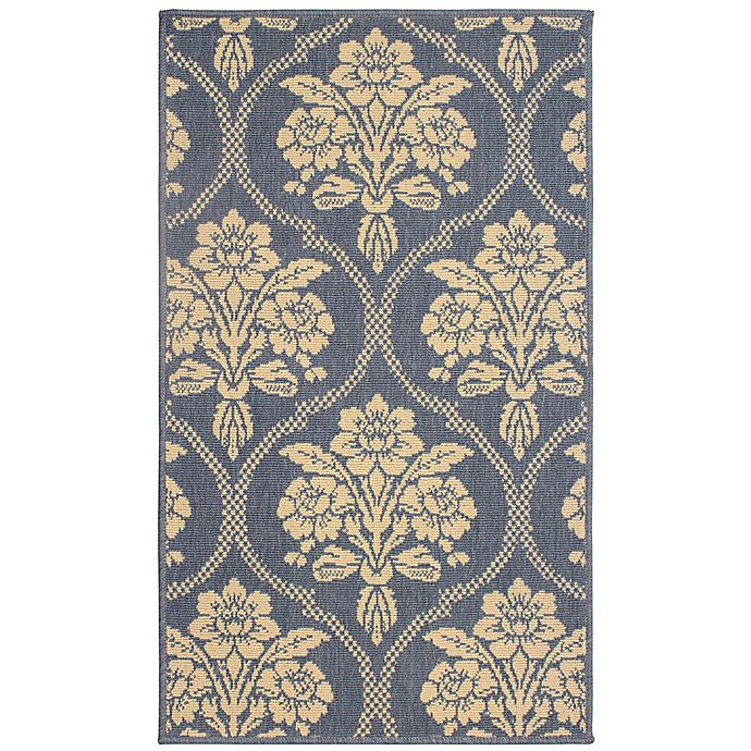 Alternate image 1 for Laura Ashley® Jaya Tatton Indoor/Outdoor 2-Foot 3-Inch x 3-Foot 9-Inch Accent Rug in Blue/Beige
