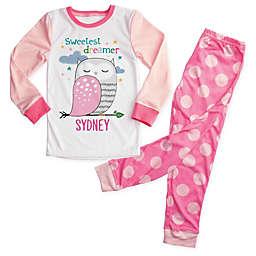 """Sweetest Dreamer"" 2-Piece Owl Pajama Set in Pink"