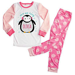 """""""Warm and Fuzzy"""" 2-Piece Penguin Pajama Set in Pink"""