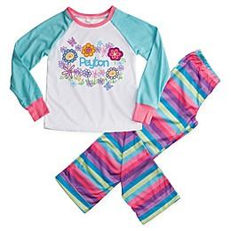 Pretty Flowers 2-Piece Pajama Set in Blue