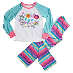 Pretty Flowers 2-Piece Pajama Set in Blue