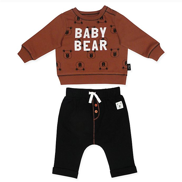 b505d0ad Mini Heroes 2-Piece Baby Bear Shirt and Pant Set in Brown | Bed Bath ...