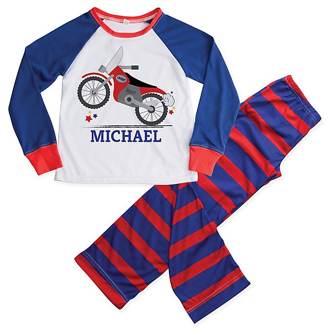 Alternate image 1 for 2-Piece Motorcycle Pajama Set in Blue