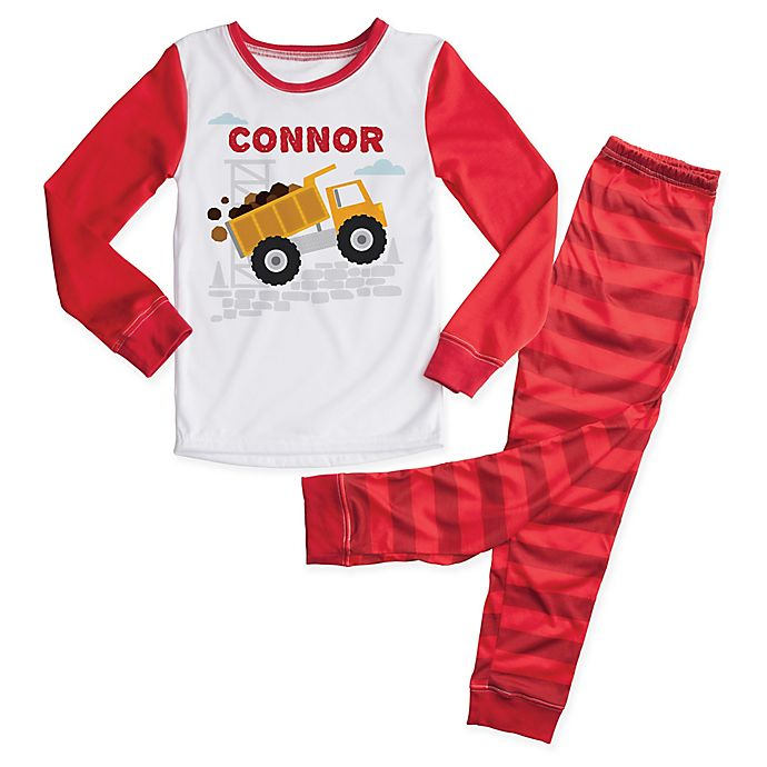 Alternate image 1 for 2-Piece Dump Truck Pajama Set in Red