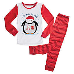 Personalized Planet 2-Piece Penguin Pajama Set in Red